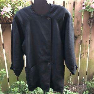 Laurel Made in Germany Black Linen Long Jacket